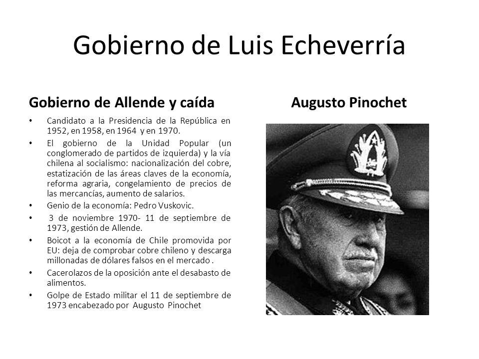 Gobierno de Luis Echeverría Gobierno de Allende y caída Candidato a la Presidencia de la República en 1952, en 1958, en 1964 y en 1970. El gobierno de