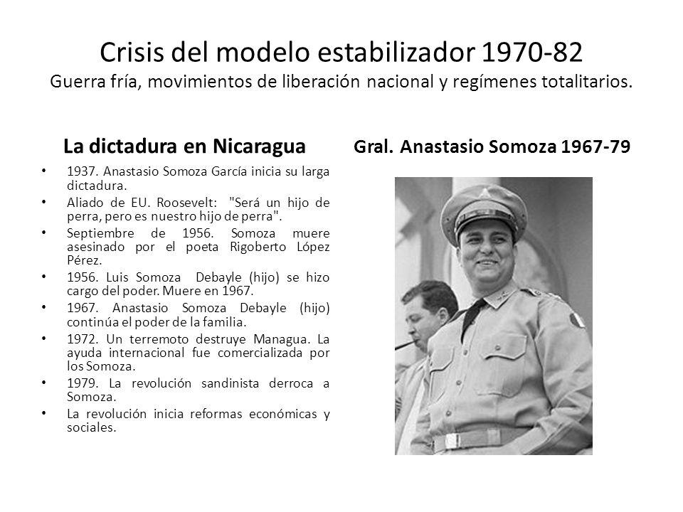 Crisis del modelo estabilizador 1970-82 Guerra fría, movimientos de liberación nacional y regímenes totalitarios. La dictadura en Nicaragua 1937. Anas