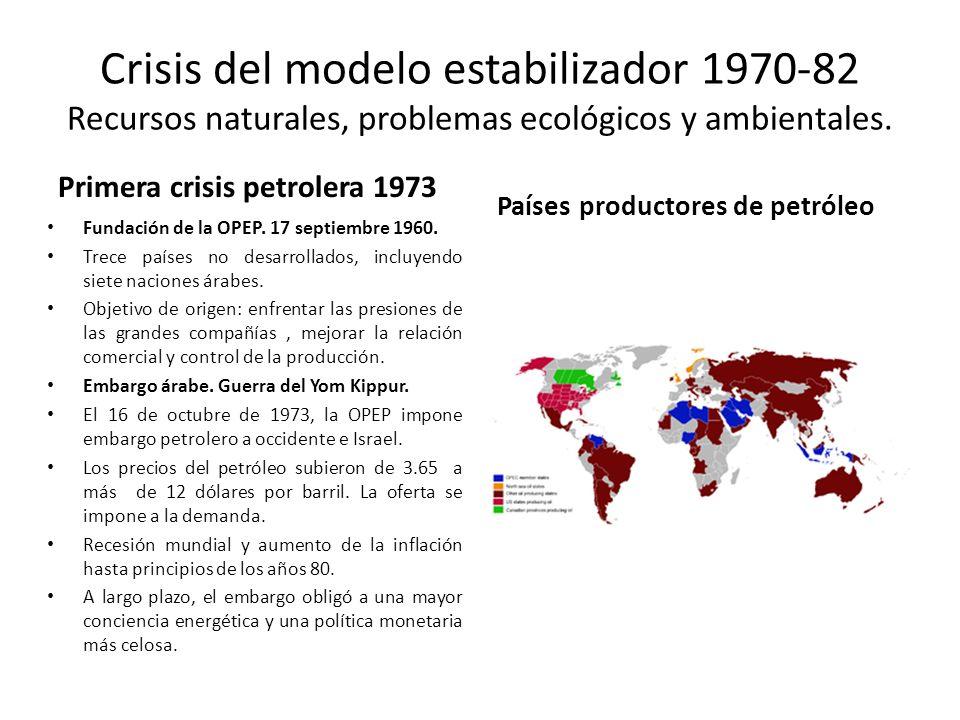 Crisis del modelo estabilizador 1970-82 Recursos naturales, problemas ecológicos y ambientales. Primera crisis petrolera 1973 Fundación de la OPEP. 17