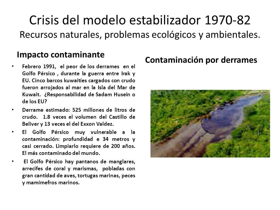 Crisis del modelo estabilizador 1970-82 Recursos naturales, problemas ecológicos y ambientales. Impacto contaminante Febrero 1991, el peor de los derr