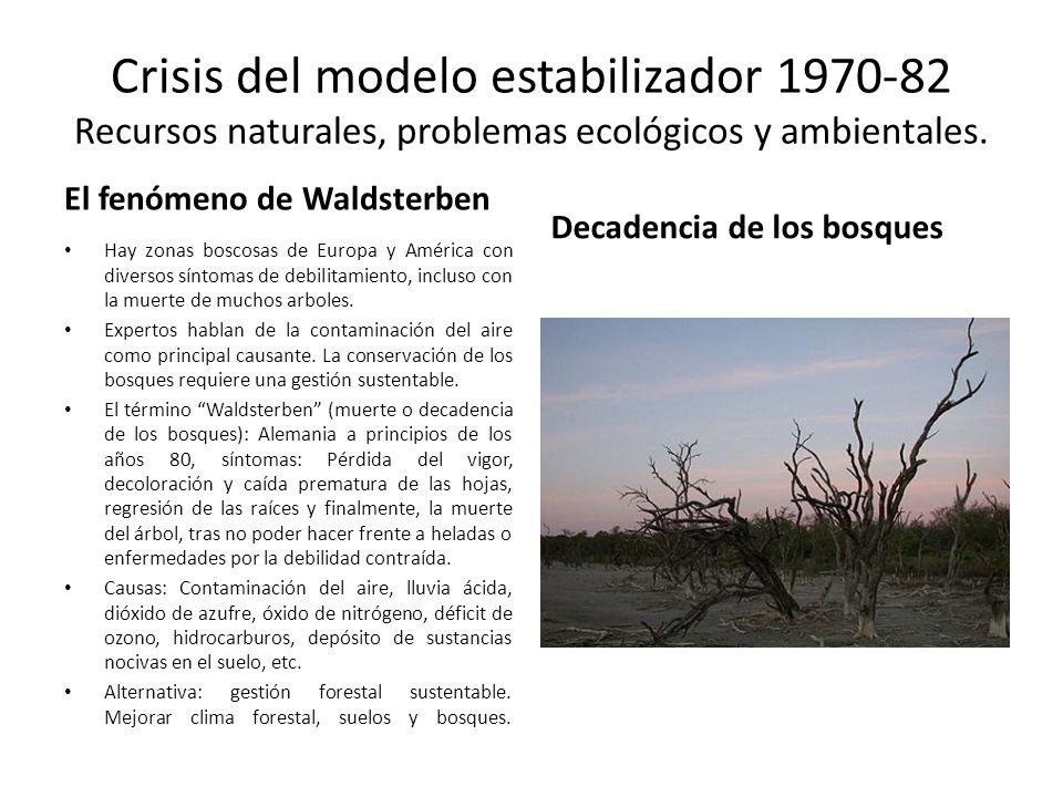 Crisis del modelo estabilizador 1970-82 Recursos naturales, problemas ecológicos y ambientales. El fenómeno de Waldsterben Hay zonas boscosas de Europ