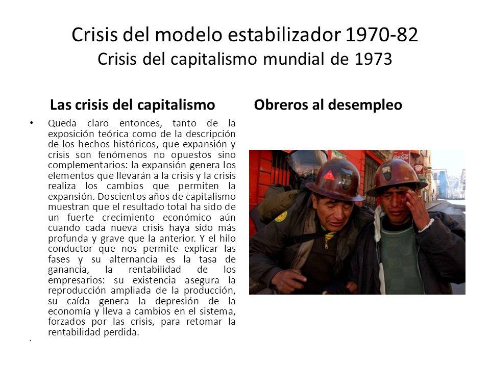 Crisis del modelo estabilizador 1970-82 Crisis del capitalismo mundial de 1973 Las crisis del capitalismo Queda claro entonces, tanto de la exposición