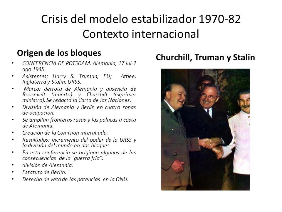 Crisis del modelo estabilizador 1970-82 Contexto internacional Origen de los bloques CONFERENCIA DE POTSDAM, Alemania, 17 jul-2 ago 1945. Asistentes: