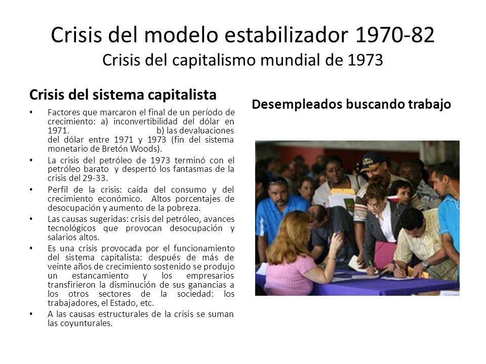 Crisis del modelo estabilizador 1970-82 Crisis del capitalismo mundial de 1973 Crisis del sistema capitalista Factores que marcaron el final de un per