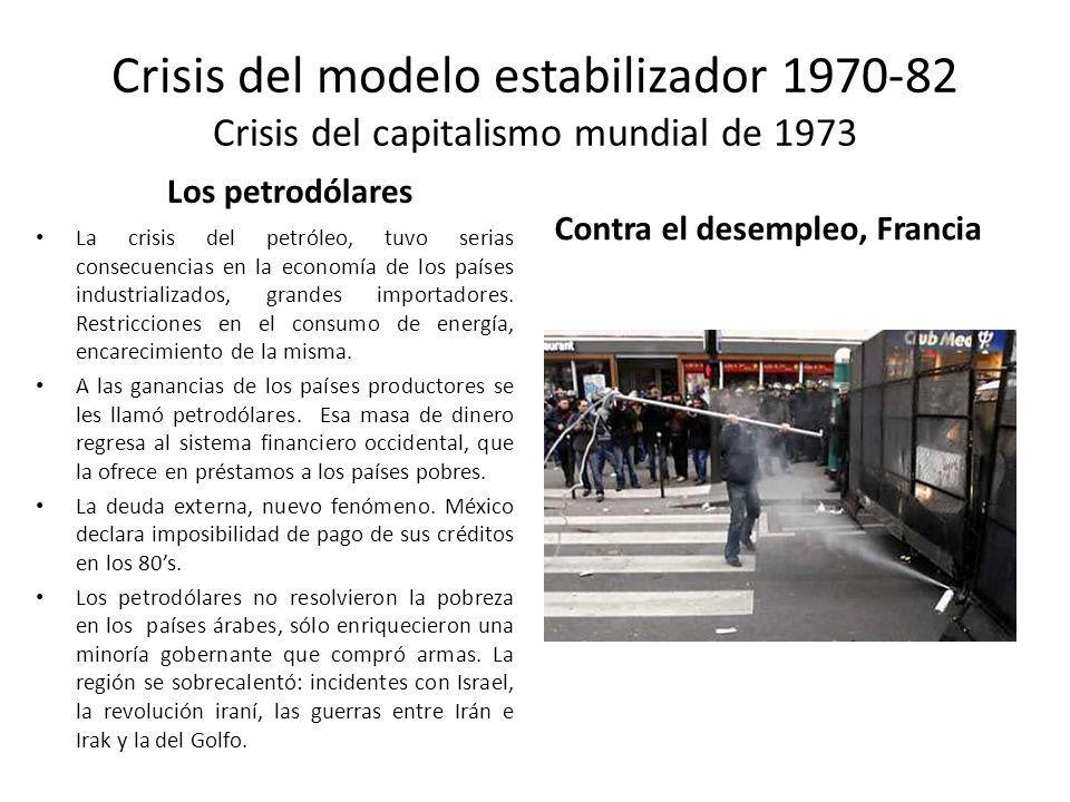 Crisis del modelo estabilizador 1970-82 Crisis del capitalismo mundial de 1973 Los petrodólares La crisis del petróleo, tuvo serias consecuencias en l