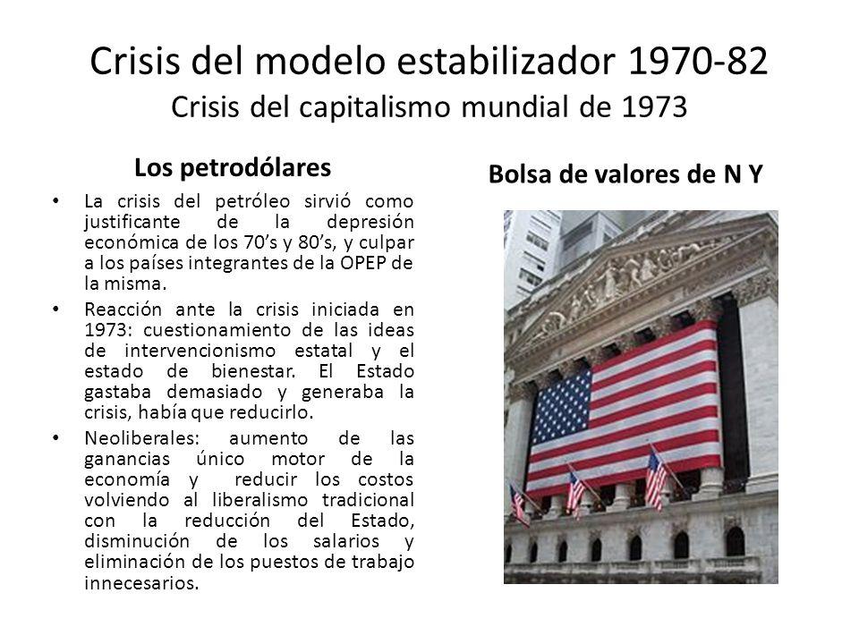 Crisis del modelo estabilizador 1970-82 Crisis del capitalismo mundial de 1973 Los petrodólares La crisis del petróleo sirvió como justificante de la