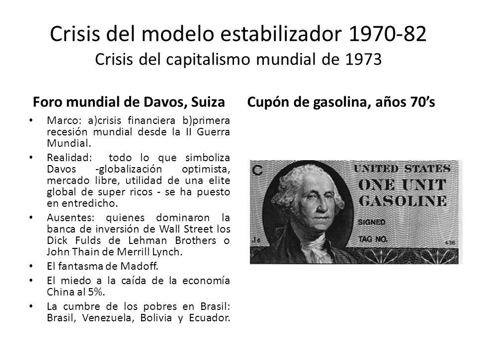 Crisis del modelo estabilizador 1970-82 Crisis del capitalismo mundial de 1973 Foro mundial de Davos, Suiza Marco: a)crisis financiera b)primera reces