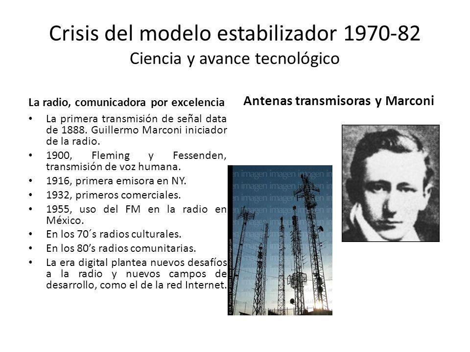 Crisis del modelo estabilizador 1970-82 Ciencia y avance tecnológico La radio, comunicadora por excelencia La primera transmisión de señal data de 188