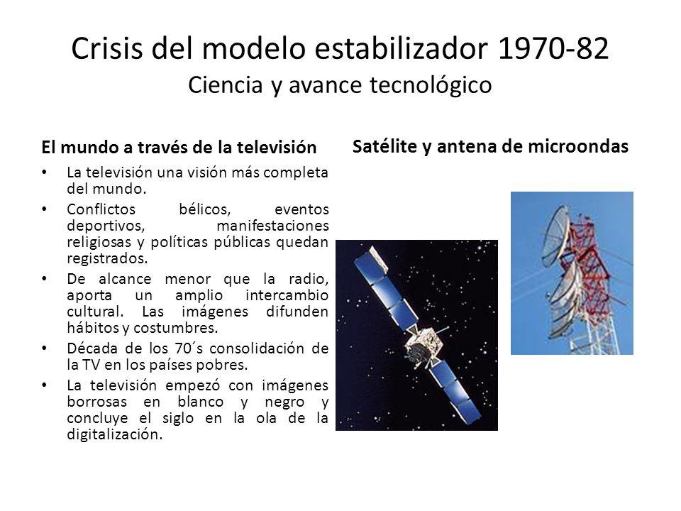 Crisis del modelo estabilizador 1970-82 Ciencia y avance tecnológico El mundo a través de la televisión La televisión una visión más completa del mund