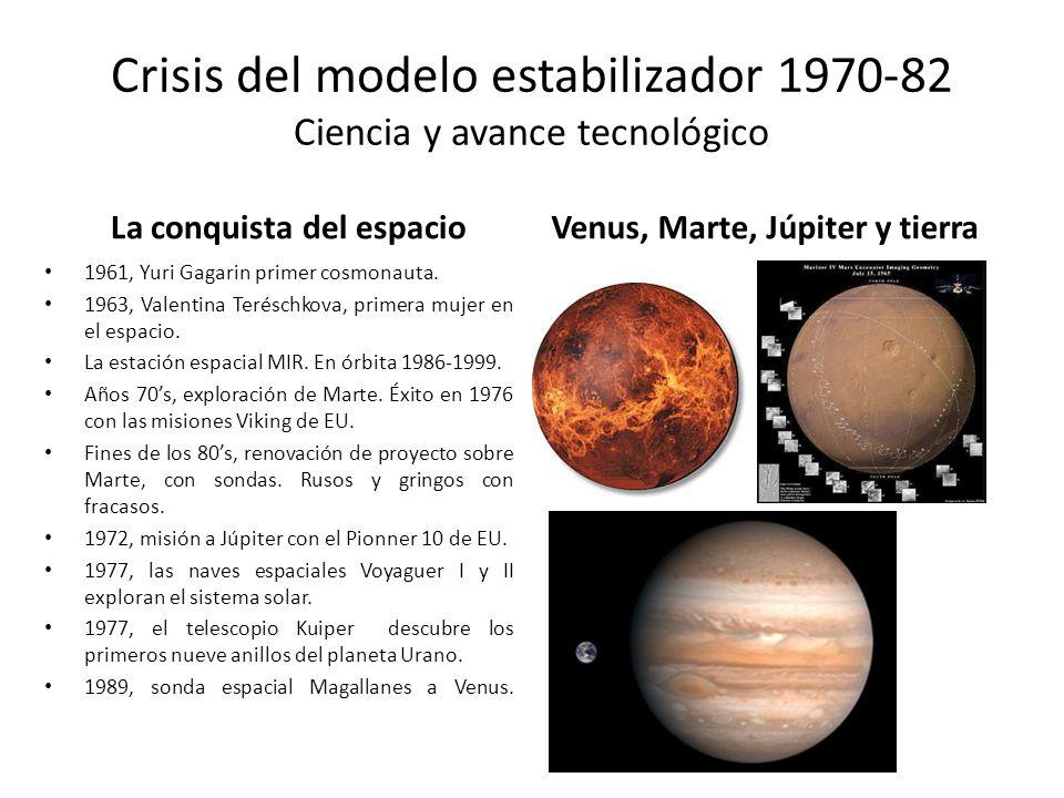 Crisis del modelo estabilizador 1970-82 Ciencia y avance tecnológico La conquista del espacio 1961, Yuri Gagarin primer cosmonauta. 1963, Valentina Te