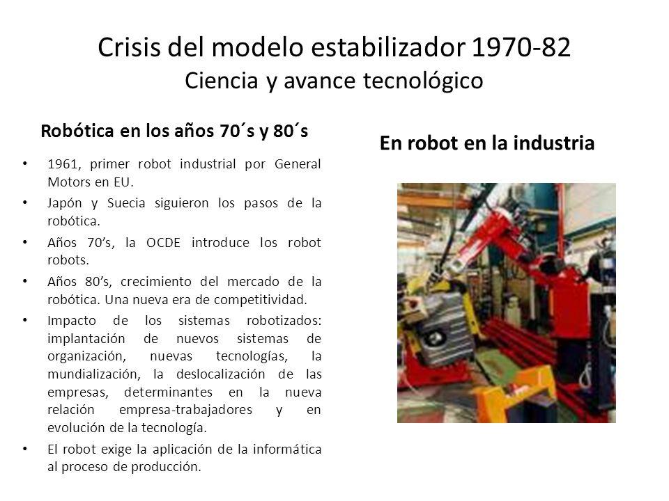 Crisis del modelo estabilizador 1970-82 Ciencia y avance tecnológico Robótica en los años 70´s y 80´s 1961, primer robot industrial por General Motors