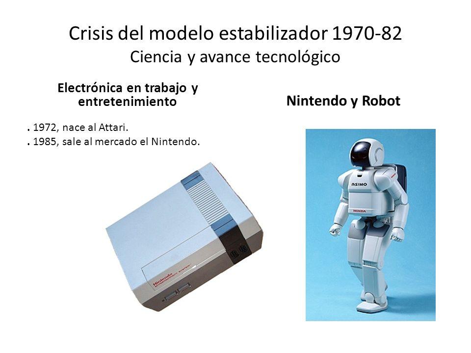 Crisis del modelo estabilizador 1970-82 Ciencia y avance tecnológico Electrónica en trabajo y entretenimiento Nintendo y Robot. 1972, nace al Attari..