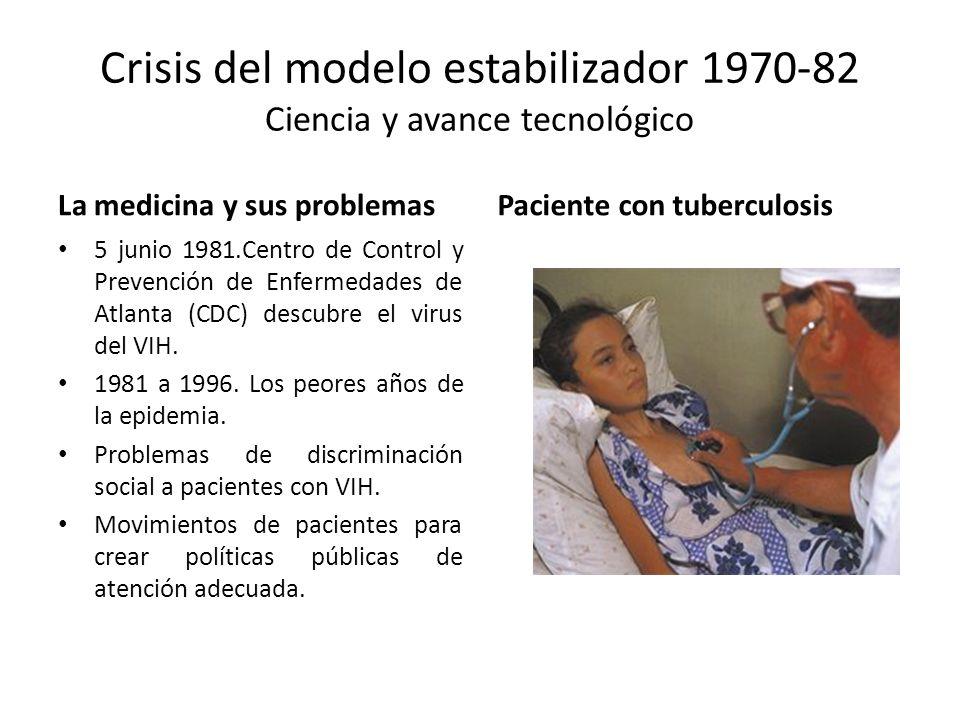 Crisis del modelo estabilizador 1970-82 Ciencia y avance tecnológico La medicina y sus problemas 5 junio 1981.Centro de Control y Prevención de Enferm