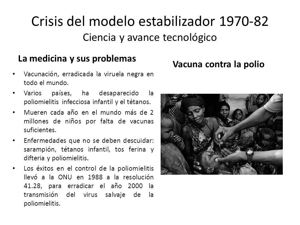 Crisis del modelo estabilizador 1970-82 Ciencia y avance tecnológico La medicina y sus problemas Vacunación, erradicada la viruela negra en todo el mu