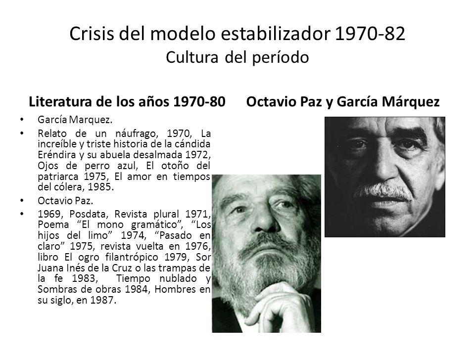 Crisis del modelo estabilizador 1970-82 Cultura del período Literatura de los años 1970-80 García Marquez. Relato de un náufrago, 1970, La increíble y
