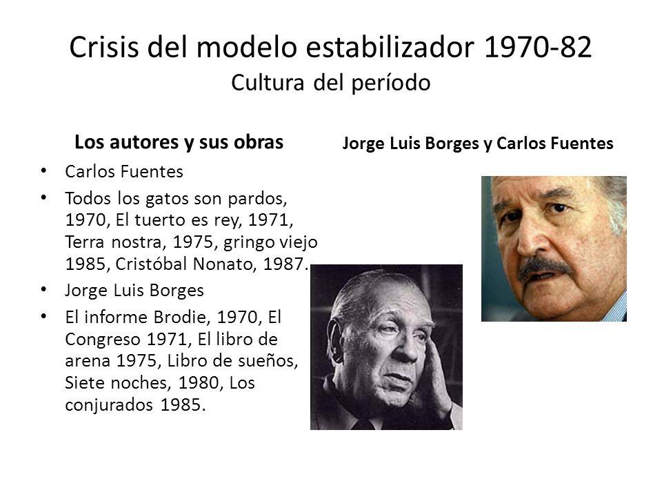 Crisis del modelo estabilizador 1970-82 Cultura del período Los autores y sus obras Carlos Fuentes Todos los gatos son pardos, 1970, El tuerto es rey,