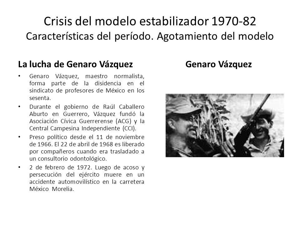 Crisis del modelo estabilizador 1970-82 Características del período. Agotamiento del modelo La lucha de Genaro Vázquez Genaro Vázquez, maestro normali