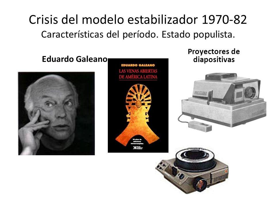Crisis del modelo estabilizador 1970-82 Características del período. Estado populista. Eduardo Galeano Proyectores de diapositivas