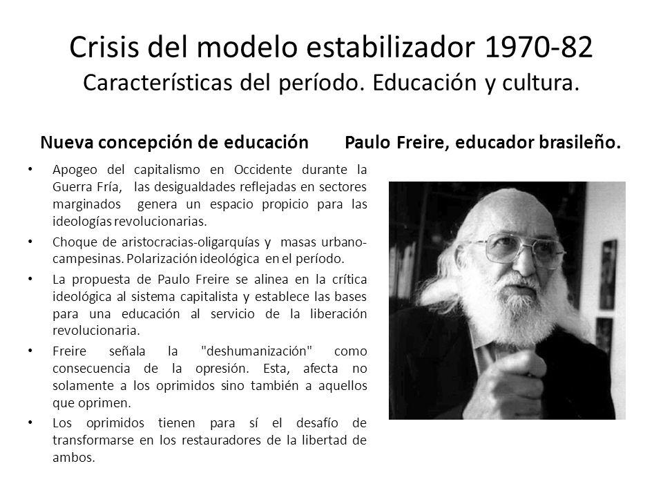 Crisis del modelo estabilizador 1970-82 Características del período. Educación y cultura. Nueva concepción de educación Apogeo del capitalismo en Occi