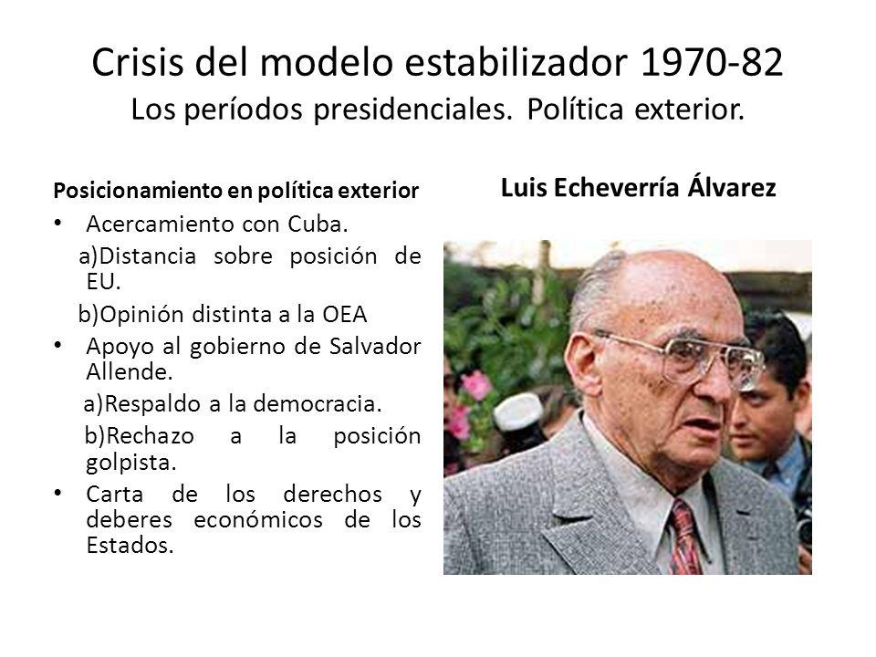 Crisis del modelo estabilizador 1970-82 Los períodos presidenciales. Política exterior. Posicionamiento en política exterior Acercamiento con Cuba. a)