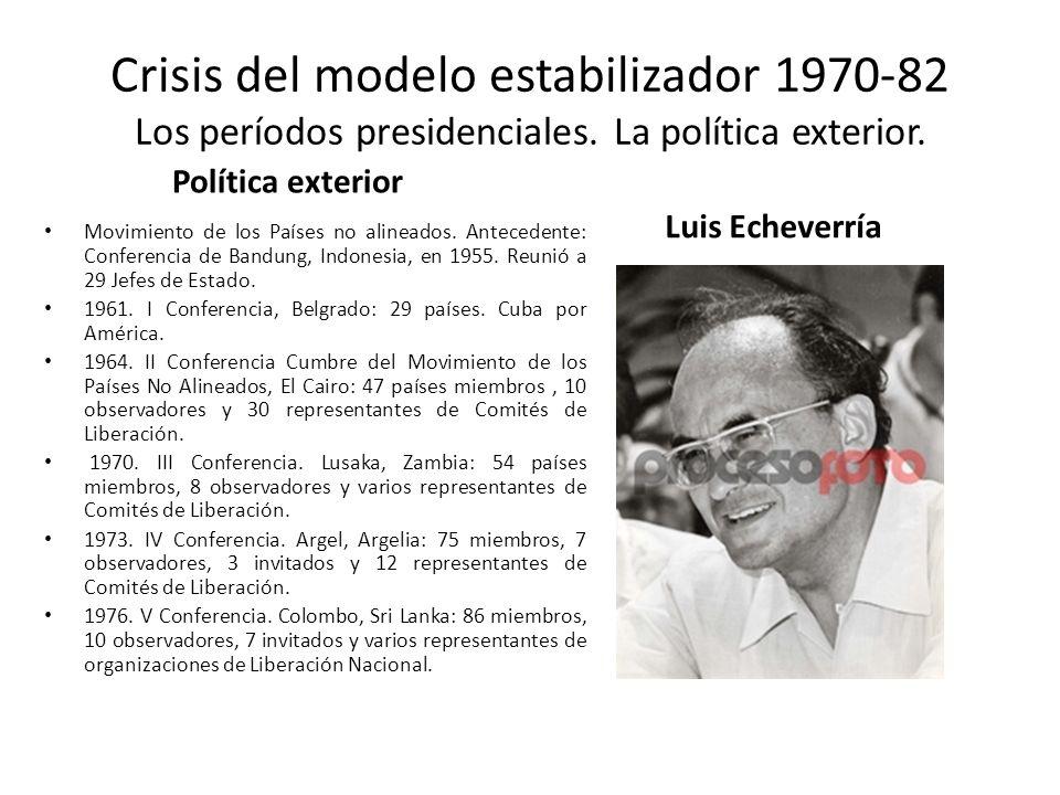 Crisis del modelo estabilizador 1970-82 Los períodos presidenciales. La política exterior. Política exterior Movimiento de los Países no alineados. An