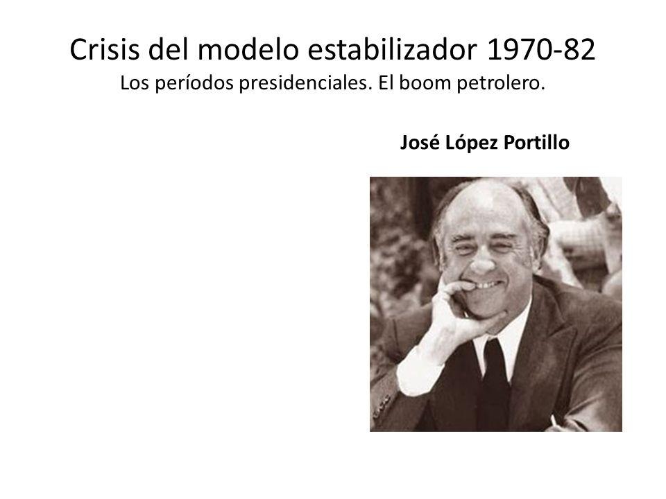 Crisis del modelo estabilizador 1970-82 Los períodos presidenciales. El boom petrolero. José López Portillo