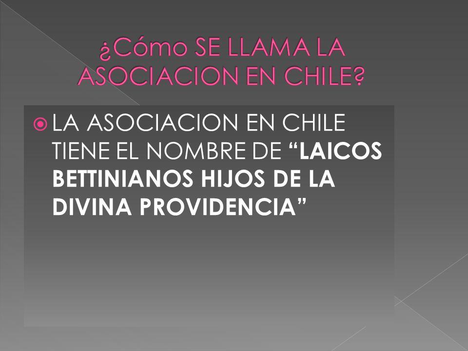LA ASOCIACION EN CHILE TIENE EL NOMBRE DE LAICOS BETTINIANOS HIJOS DE LA DIVINA PROVIDENCIA