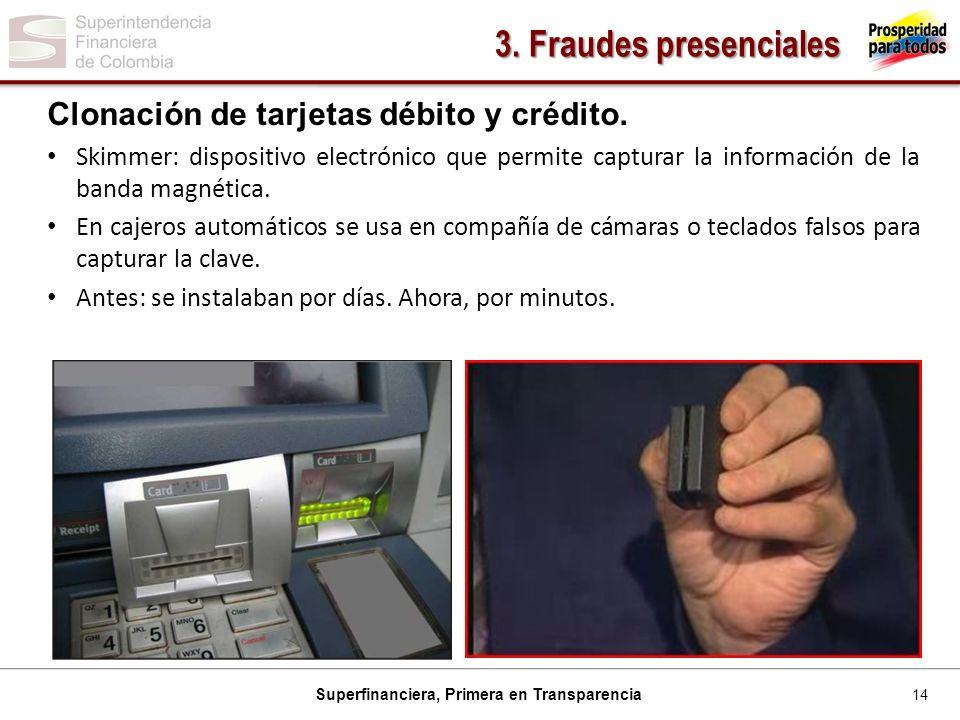 14 Superfinanciera, Primera en Transparencia Clonación de tarjetas débito y crédito.