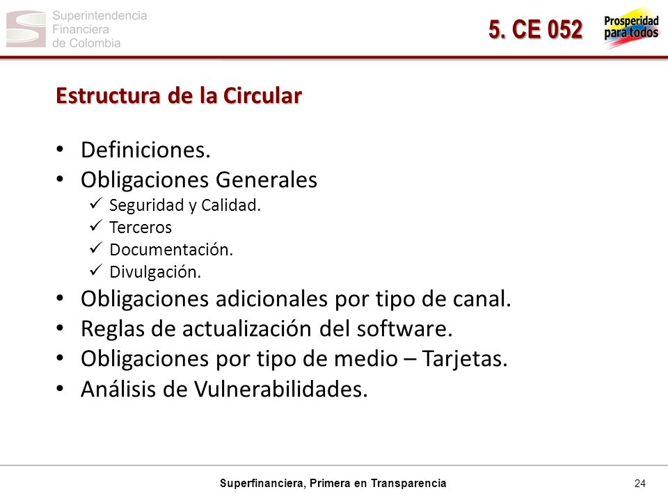 24 Superfinanciera, Primera en Transparencia Estructura de la Circular Definiciones.
