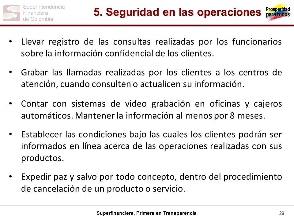 28 Superfinanciera, Primera en Transparencia Llevar registro de las consultas realizadas por los funcionarios sobre la información confidencial de los clientes.
