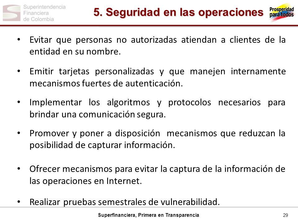 29 Superfinanciera, Primera en Transparencia Evitar que personas no autorizadas atiendan a clientes de la entidad en su nombre.