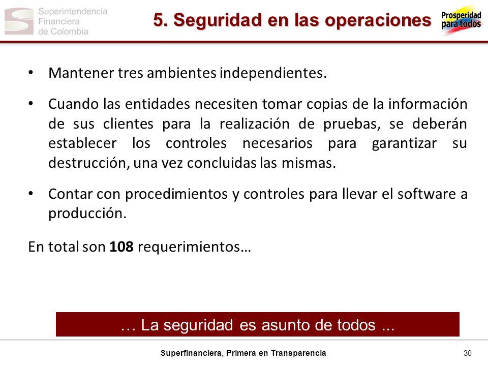 30 Superfinanciera, Primera en Transparencia Mantener tres ambientes independientes.
