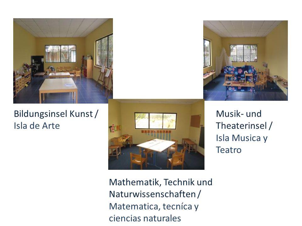 Bildungsinsel Kunst / Isla de Arte Musik- und Theaterinsel / Isla Musica y Teatro Mathematik, Technik und Naturwissenschaften / Matematica, tecníca y ciencias naturales