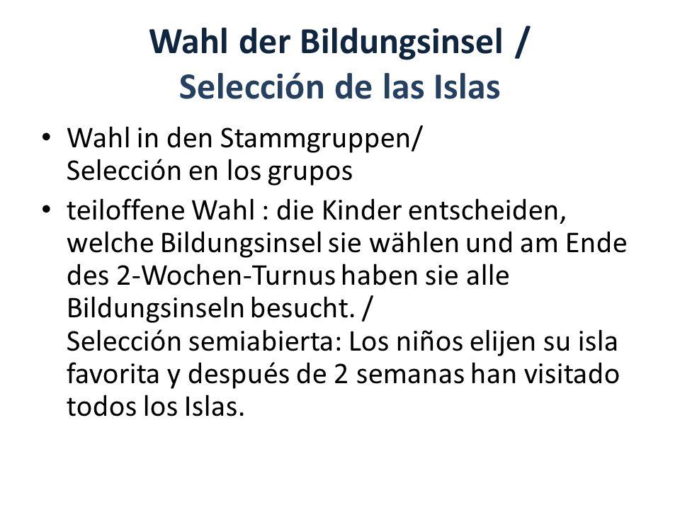 Wahl der Bildungsinsel / Selección de las Islas Wahl in den Stammgruppen/ Selección en los grupos teiloffene Wahl : die Kinder entscheiden, welche Bildungsinsel sie wählen und am Ende des 2-Wochen-Turnus haben sie alle Bildungsinseln besucht.