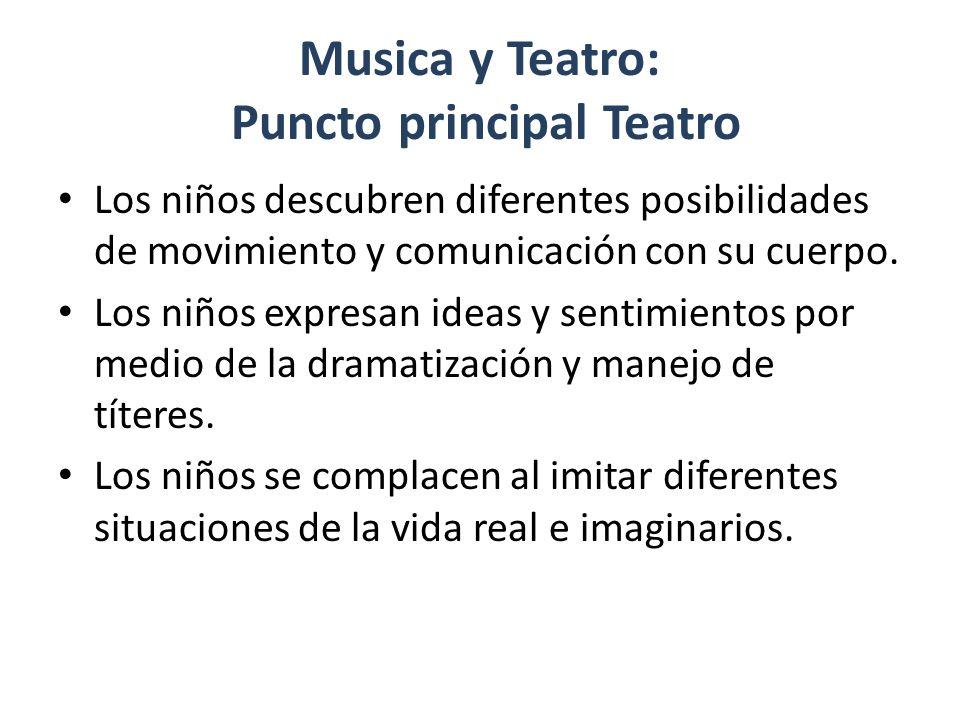 Musica y Teatro: Puncto principal Teatro Los niños descubren diferentes posibilidades de movimiento y comunicación con su cuerpo.