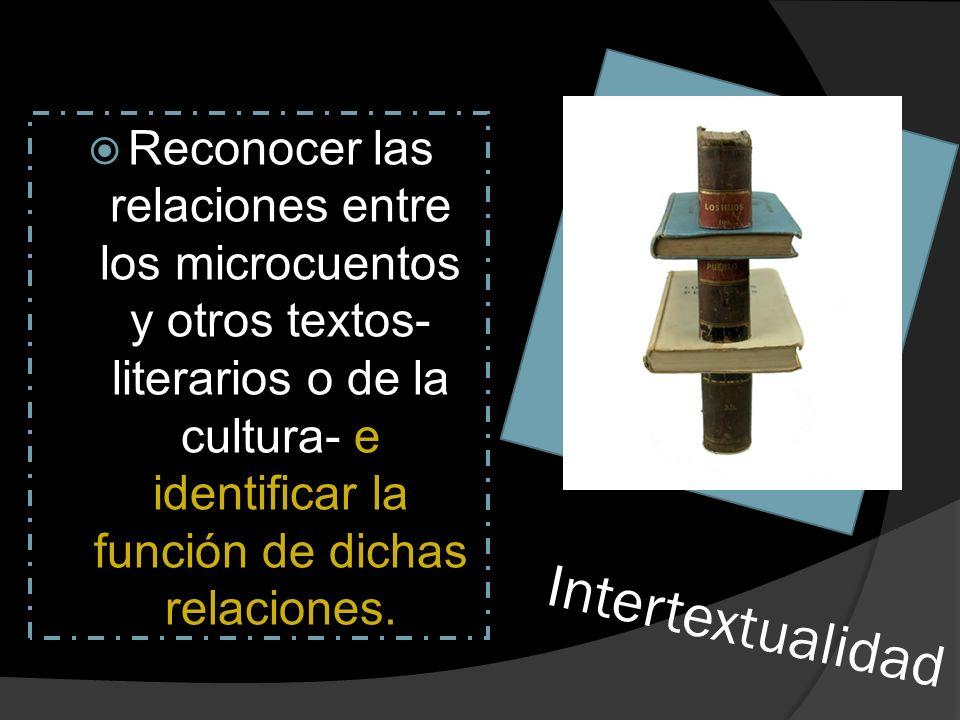 Intertextualidad Reconocer las relaciones entre los microcuentos y otros textos- literarios o de la cultura- e identificar la función de dichas relaci