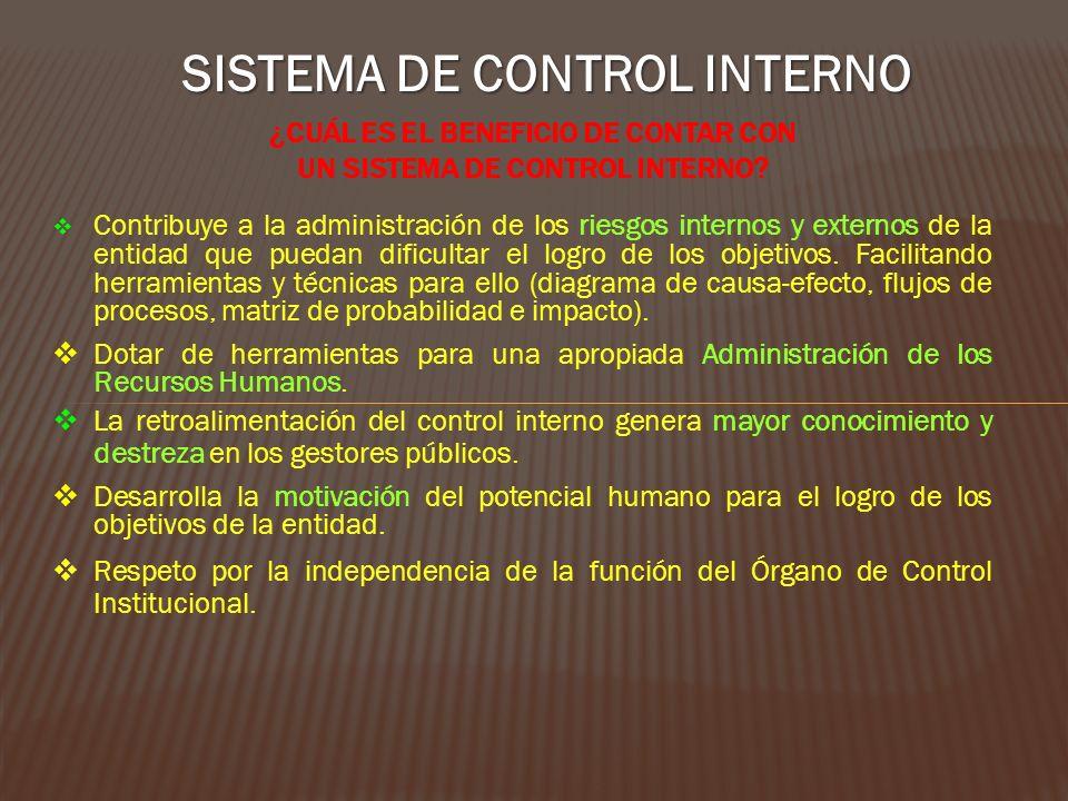 SISTEMA DE CONTROL INTERNO ¿CUÁL ES EL BENEFICIO DE CONTAR CON UN SISTEMA DE CONTROL INTERNO? Contribuye a la administración de los riesgos internos y