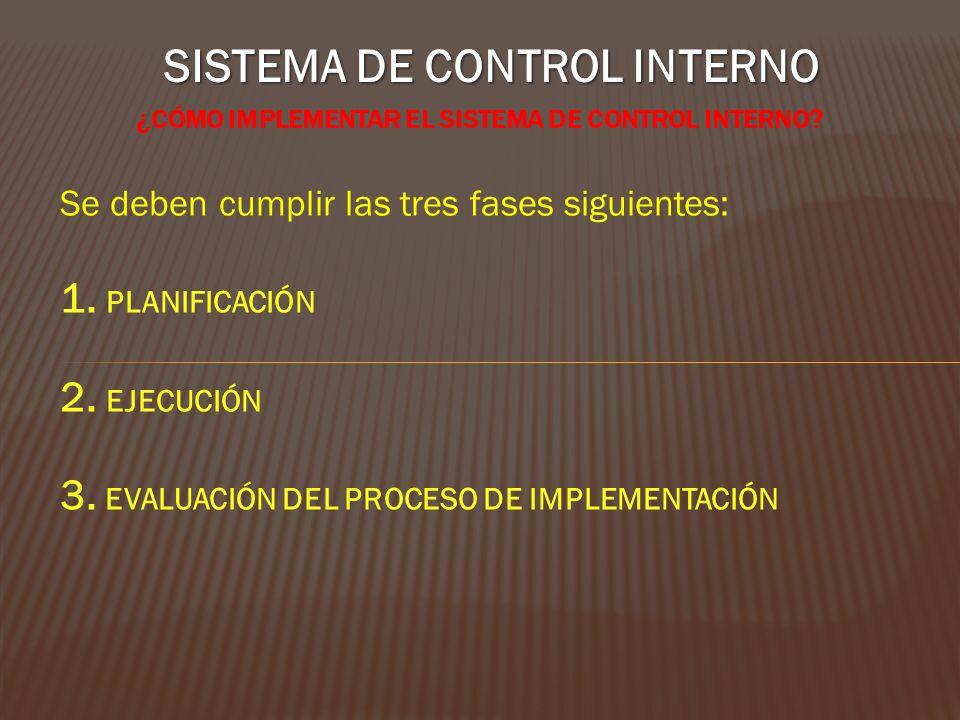 SISTEMA DE CONTROL INTERNO ¿CÓMO IMPLEMENTAR EL SISTEMA DE CONTROL INTERNO? Se deben cumplir las tres fases siguientes: 1. PLANIFICACIÓN 2. EJECUCIÓN