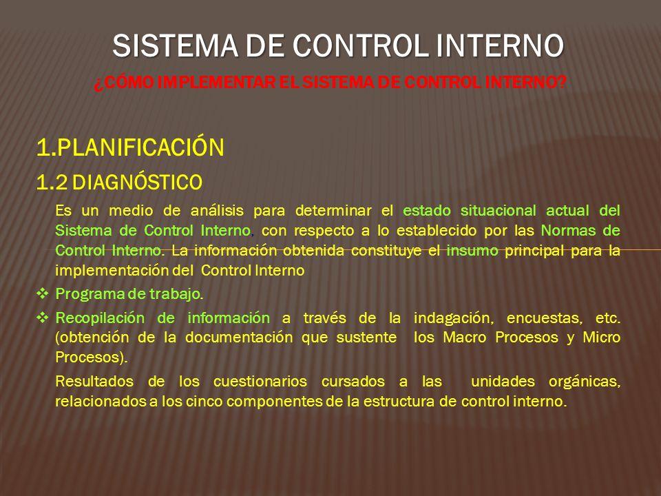SISTEMA DE CONTROL INTERNO ¿CÓMO IMPLEMENTAR EL SISTEMA DE CONTROL INTERNO? 1.PLANIFICACIÓN 1.2 DIAGNÓSTICO Es un medio de análisis para determinar el
