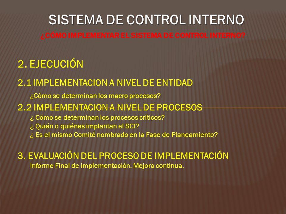 SISTEMA DE CONTROL INTERNO ¿CÓMO IMPLEMENTAR EL SISTEMA DE CONTROL INTERNO? 2. EJECUCIÓN 2.1 IMPLEMENTACION A NIVEL DE ENTIDAD ¿Cómo se determinan los