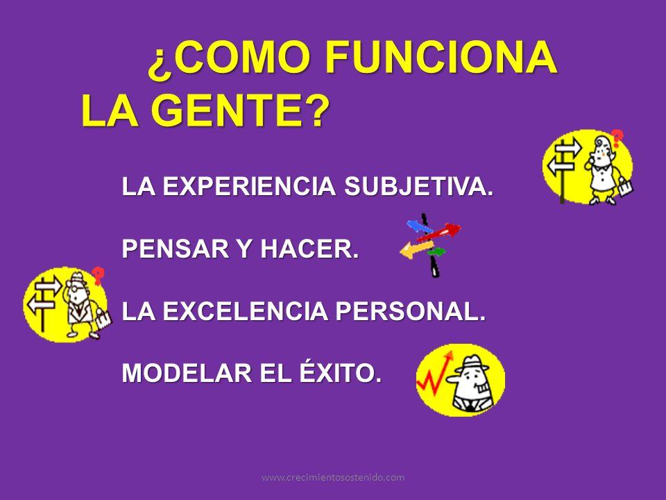 ¿COMO FUNCIONA LA GENTE? LA EXPERIENCIA SUBJETIVA. PENSAR Y HACER. LA EXCELENCIA PERSONAL. MODELAR EL ÉXITO. www.crecimientosostenido.com