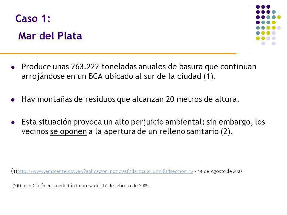 Caso 1: Mar del Plata Produce unas 263.222 toneladas anuales de basura que continúan arrojándose en un BCA ubicado al sur de la ciudad (1). Hay montañ