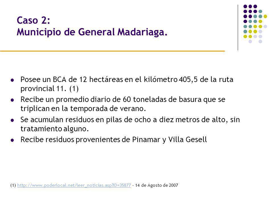 Caso 2: Municipio de General Madariaga. Posee un BCA de 12 hectáreas en el kilómetro 405,5 de la ruta provincial 11. (1) Recibe un promedio diario de