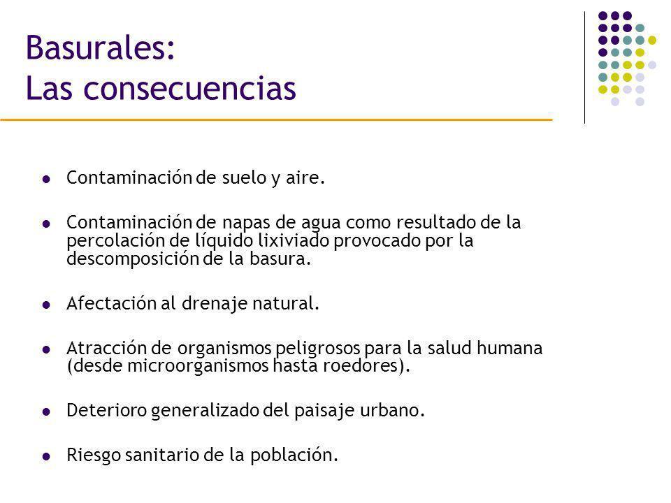 Basurales: Las consecuencias Contaminación de suelo y aire. Contaminación de napas de agua como resultado de la percolación de líquido lixiviado provo