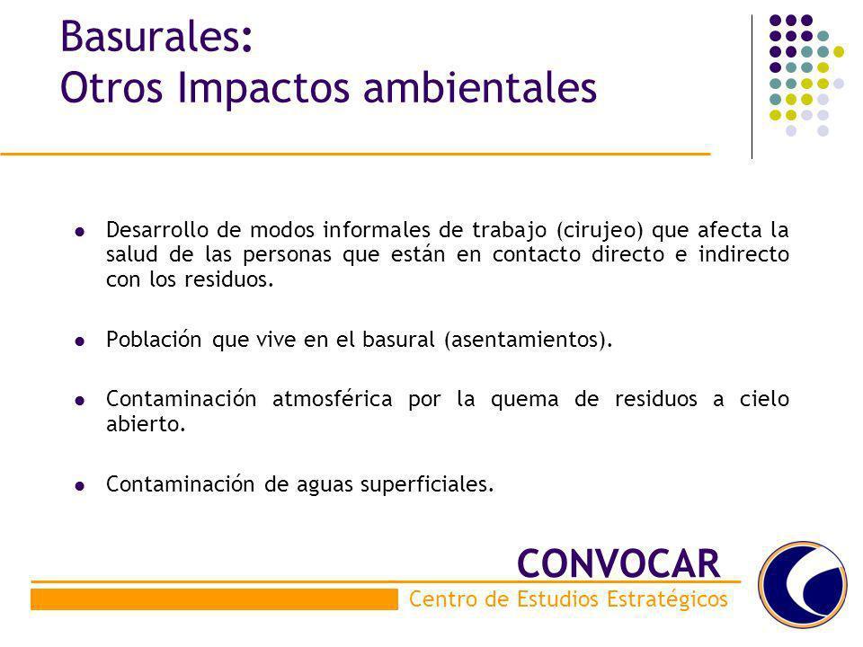Basurales: Otros Impactos ambientales Desarrollo de modos informales de trabajo (cirujeo) que afecta la salud de las personas que están en contacto di