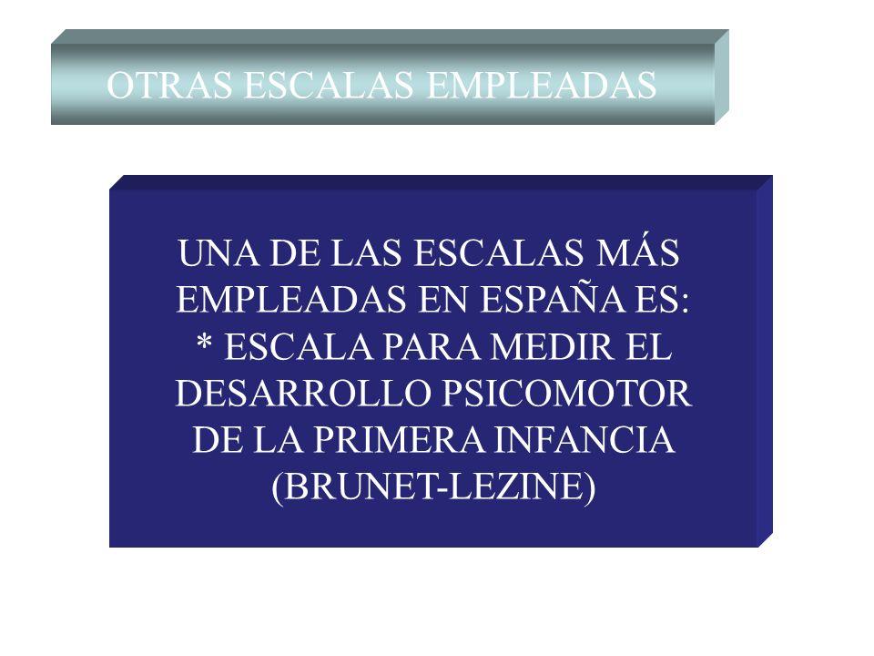 OTRAS ESCALAS EMPLEADAS UNA DE LAS ESCALAS MÁS EMPLEADAS EN ESPAÑA ES: * ESCALA PARA MEDIR EL DESARROLLO PSICOMOTOR DE LA PRIMERA INFANCIA (BRUNET-LEZ