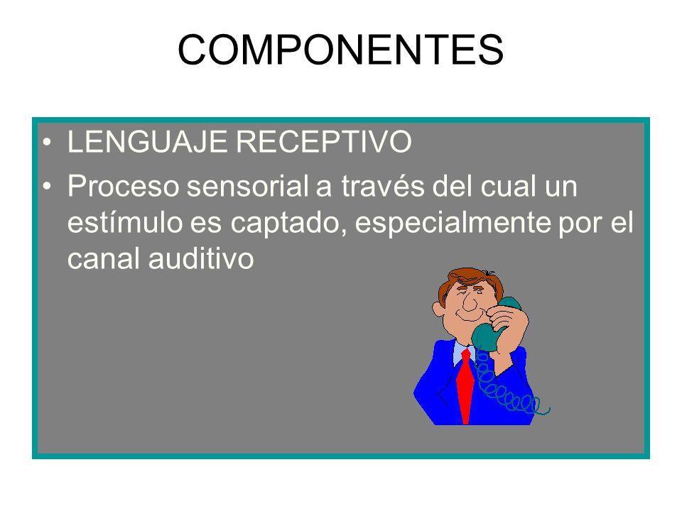 COMPONENTES LENGUAJE RECEPTIVO Proceso sensorial a través del cual un estímulo es captado, especialmente por el canal auditivo