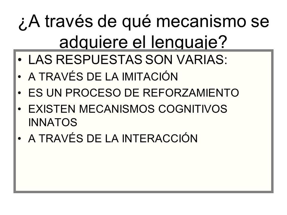 ¿A través de qué mecanismo se adquiere el lenguaje? LAS RESPUESTAS SON VARIAS: A TRAVÉS DE LA IMITACIÓN ES UN PROCESO DE REFORZAMIENTO EXISTEN MECANIS