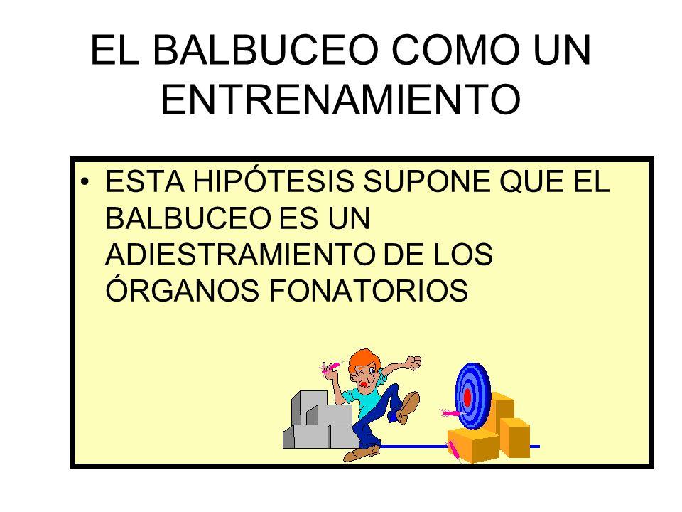 EL BALBUCEO COMO UN ENTRENAMIENTO ESTA HIPÓTESIS SUPONE QUE EL BALBUCEO ES UN ADIESTRAMIENTO DE LOS ÓRGANOS FONATORIOS