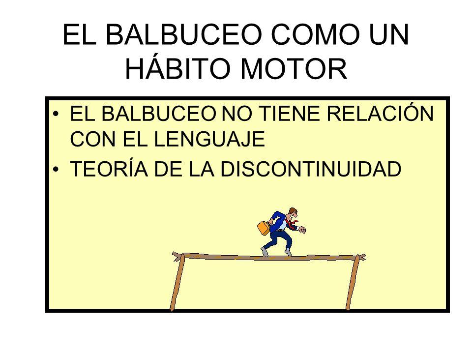 EL BALBUCEO COMO UN HÁBITO MOTOR EL BALBUCEO NO TIENE RELACIÓN CON EL LENGUAJE TEORÍA DE LA DISCONTINUIDAD